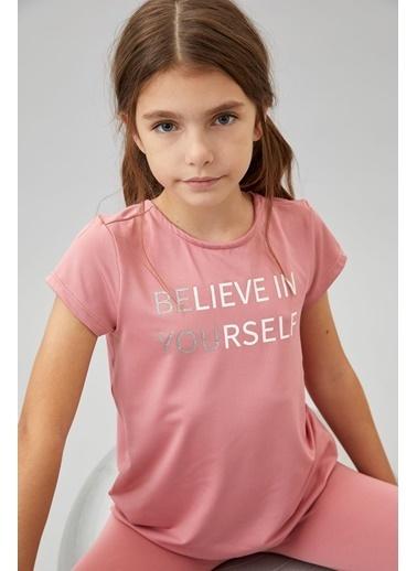 Defacto –Fit Kız Çocuk Sırtı Çapraz Yazı Baskılı Tişört Pembe
